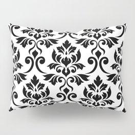 Feuille Damask Pattern Black on White Pillow Sham