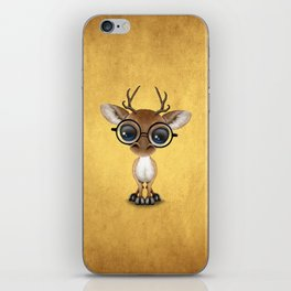 Cute Curious Nerdy Baby Deer Wearing Glasses on Yellow iPhone Skin