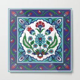 Turkish Tile Pattern – Vintage iznik ceramic with tulips Metal Print