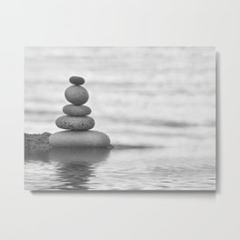 Seaside Harmony Zen Pebble Metal Print