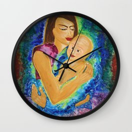 Only Love is lovely: Acrylic Painting of a Mother and her Child Wall Clock