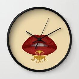 Noughty rich lips Wall Clock
