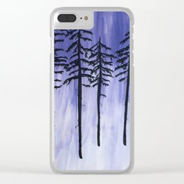 Lavender Pine Trees Clear iPhone Case