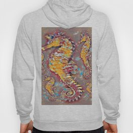 PUTTY GREY & GOLD SEA HORSES BEACH ART Hoody