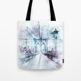Modern Art NYC Brooklyn Bridge   watercolor Tote Bag