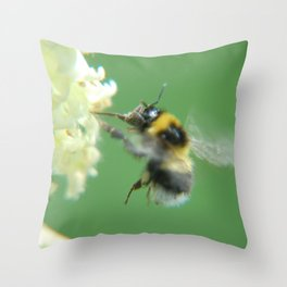 Busy Little Bee - Garden Photography by Fluid Nature Throw Pillow