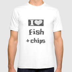 I ♥ Fish And Chips - Dark Gray MEDIUM Mens Fitted Tee White