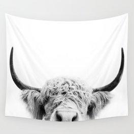 Peeking Cow BW Wall Tapestry