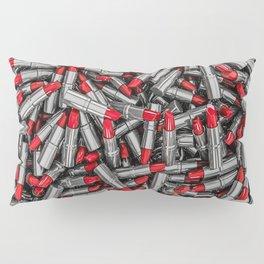 Lipstick chrome / 3D render of red chrome lipsticks Pillow Sham