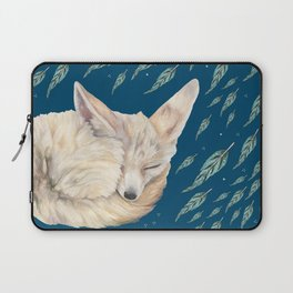 Fennec Fox Feather Dreams in Turquoise Laptop Sleeve
