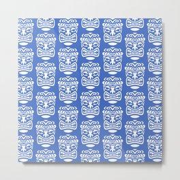 Tiki Pattern Blue Metal Print