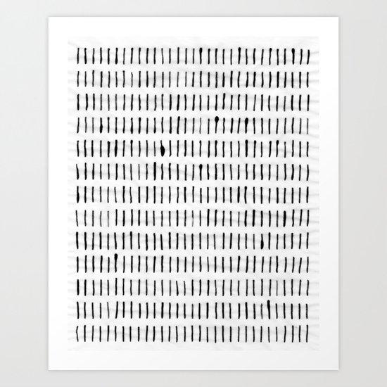 Black Ink Woodstock Pattern on White Art Print