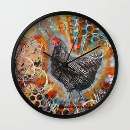 Zebra the Chicken Mixed Media Painting Wall Clock