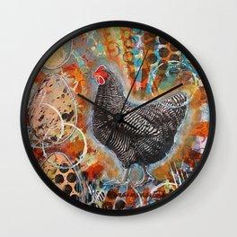 Zebra the Chicken Mixed Media Painting Wall Clock