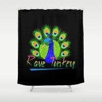turkey Shower Curtains featuring Rave Turkey by metalhorse354
