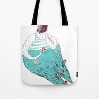 fat Tote Bags featuring sad fat and ugly by mariana, a miserável(the miserable one)