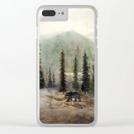Mountain Black Bear Clear iPhone Case