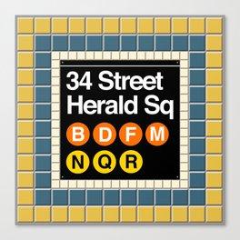 subway herald square sign Canvas Print