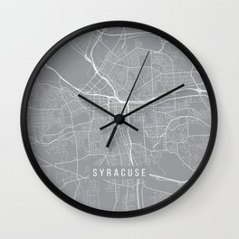 Syracuse Map, New York USA - Pewter Wall Clock