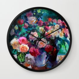 Flowers on The Garden Table Wall Clock