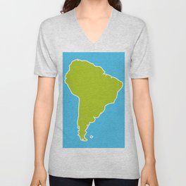 South America map blue ocean and green continent. Vector illustration Unisex V-Neck
