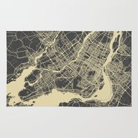 montreal Area & Throw Rugs featuring Montreal Map by Map Map Maps