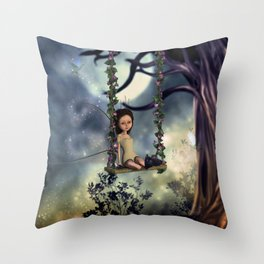 Cute little fairy with kitten on a swing Throw Pillow