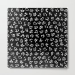 Tiny White Doodled Roses Metal Print