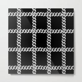 Chain Plaid on Black Metal Print
