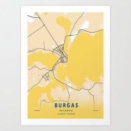 Burgas Yellow City Map Art Print