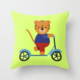Tiger on Scooter Throw Pillow