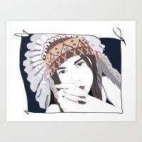 headdress Art Prints featuring Headdress by Footeprints
