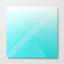 Abstract teal white geometrical gradient Metal Print