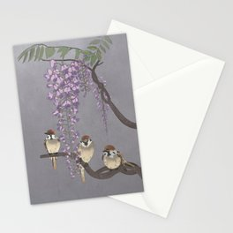 Wisteria and Sparrows Stationery Cards