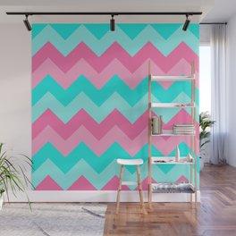Hot Pink Turquoise Aqua Blue Chevron Zigzag Pattern Print Wall Mural