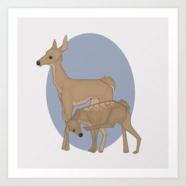 Deer Mother and Fawn Art Print