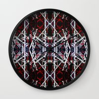 calligraphy Wall Clocks featuring Abstract Calligraphy  by Martha Calderon