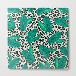 Trendy Tropical Banana Leaf Leopard Print Metal Print