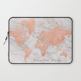 """Adventure awaits world map in rose gold and marble, """"Janine"""" Laptop Sleeve"""