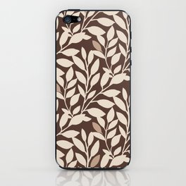 Leaves and Branches in Cream and Brown iPhone Skin