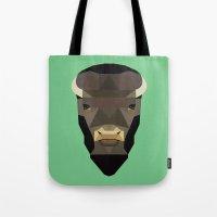 buffalo Tote Bags featuring Buffalo by Alysha Dawn