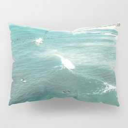 California Surf // Coastal Spring Waves Teal Blue and Green Ocean Huntington Beach Views Pillow Sham