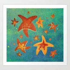 Starry Starfish Night Art Print