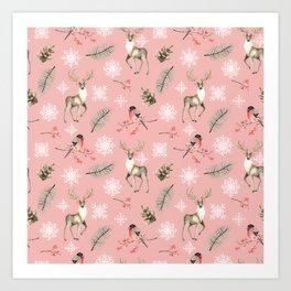 Xmas Pattern Pink #socieyt6 #buyart Art Print