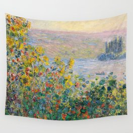 1881-Claude Monet-Flower Beds at Vétheuil-73 x 92 Wall Tapestry