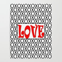 LOVE XOs Digital Illustration, Modern Artwork Poster