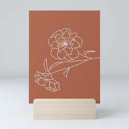 Delicate Floral (Bronze and White) Mini Art Print
