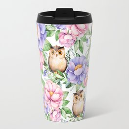 Watercolor hand painted pink lavender brown floral cute owl pattern Travel Mug