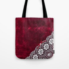 Elegant white Vintage Lace with pearl and ribbon on dark red grunge backround Tote Bag