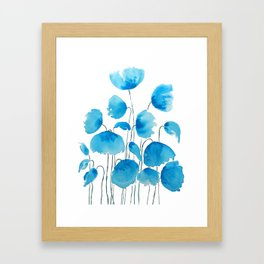 blue poppy field watercolor Framed Art Print